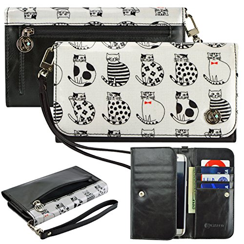 Case+Keychain PU Leather Clutch/Purse/Pouch Fits ALCATEL KYOCERA Nokia Sony etc. Universal Women's Cute Wristlet Strap Flip Wallet - White Cats. Fits The Following Cell Phone/Device Models: