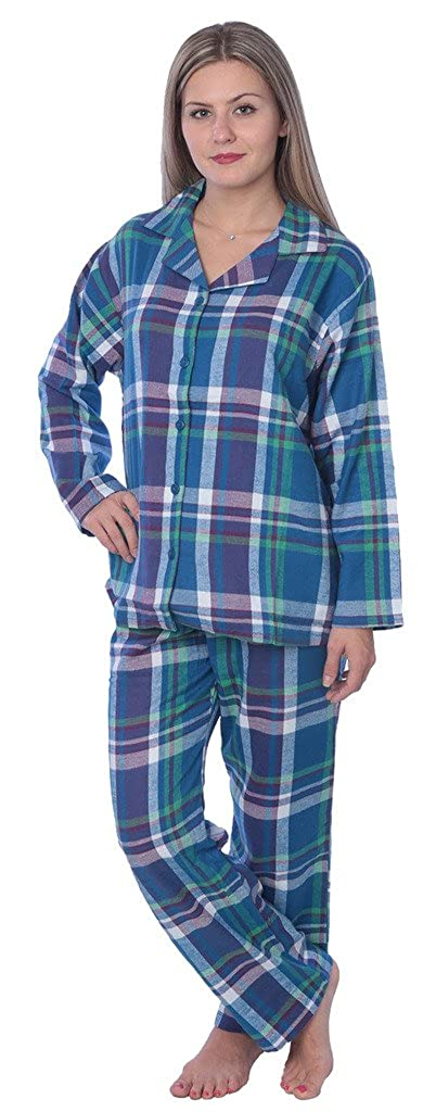 Beverly Rock Womens 100% Cotton Flannel Plaid Pajama Set Available in Plus Size