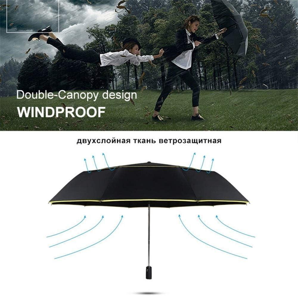 XIANGNAIZUI 120cm Fully-Automatic Umbrella Men Rain Woman Double Layer 3 Folding Business Gift Umbrella Windproof Sun Umbrellas Color : Blue