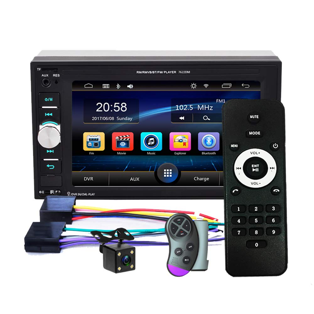 Hikity Double Din Car Stereo 1080P Full HD 6.2 Touch Screen Multimedia MP5 Player Support Bluetooth TF USB FM Radio Audio /& Android Phone Mirror Link Steering Wheel Control /& Backup Camera