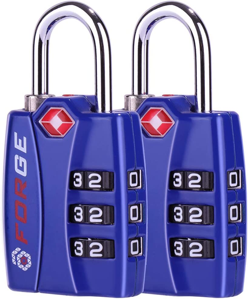Lockers Suitcase Alloy Body for Travel Luggage Forge TSA Locks 2 Pack Open Alert Indicator