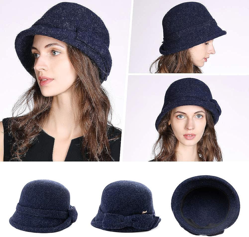 Chapeau cloche vintage /él/égant en feutre de laine pour femme Motif floral Z01