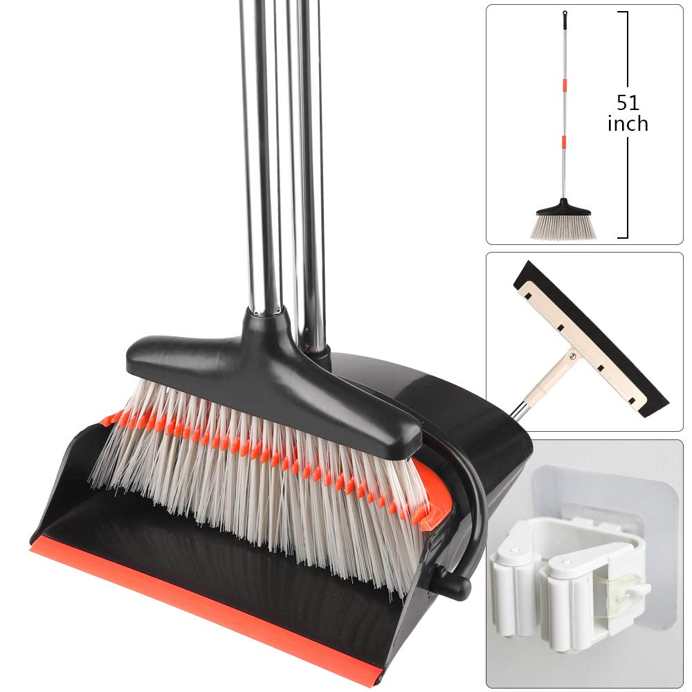 Outkitkit Dust Pan and Broom Set, 51'' Long Handle Upright Stand up Cleans Broom Dustpan Combo for Home Kitchen Office Room Lobby Floor Use
