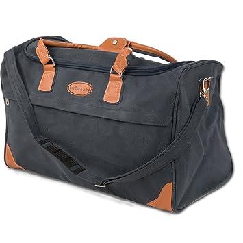 JEMIDI Handgepäck Leder Look Reisetasche 50L Boardcase Cabin Tasche Bord Sporttasche Lederlook Kunstleder Bag (Blau 50 Liter Reisetasche)