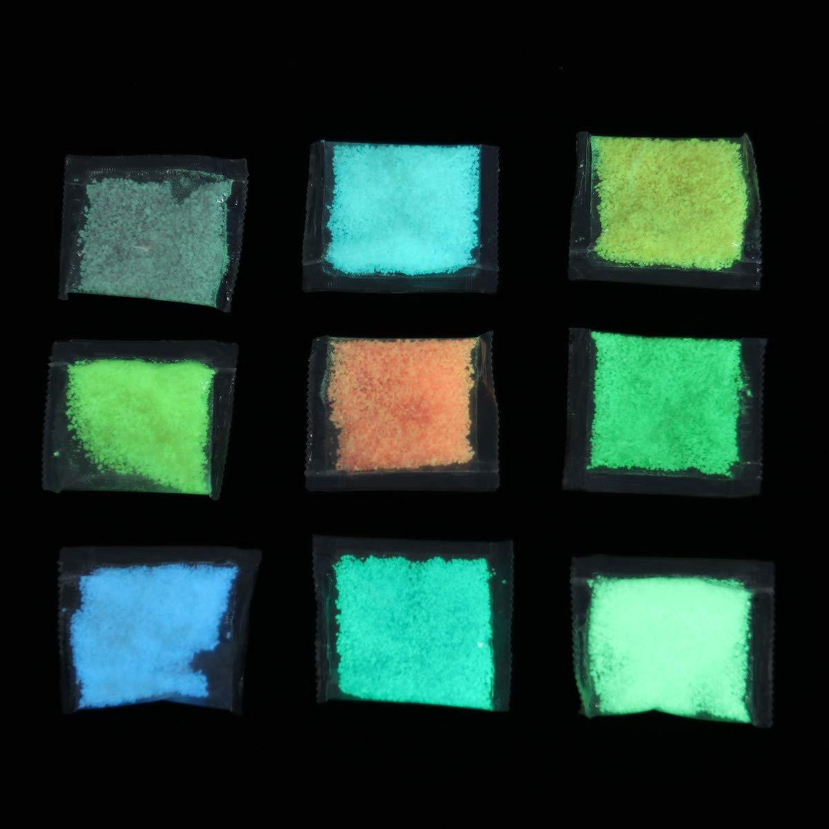Arena para el Acuario de Tanques de Peces Brillo Luminoso en Polvo Brillo Fino POPETPOP 9 Paquetes de Polvo de Fluorescencia