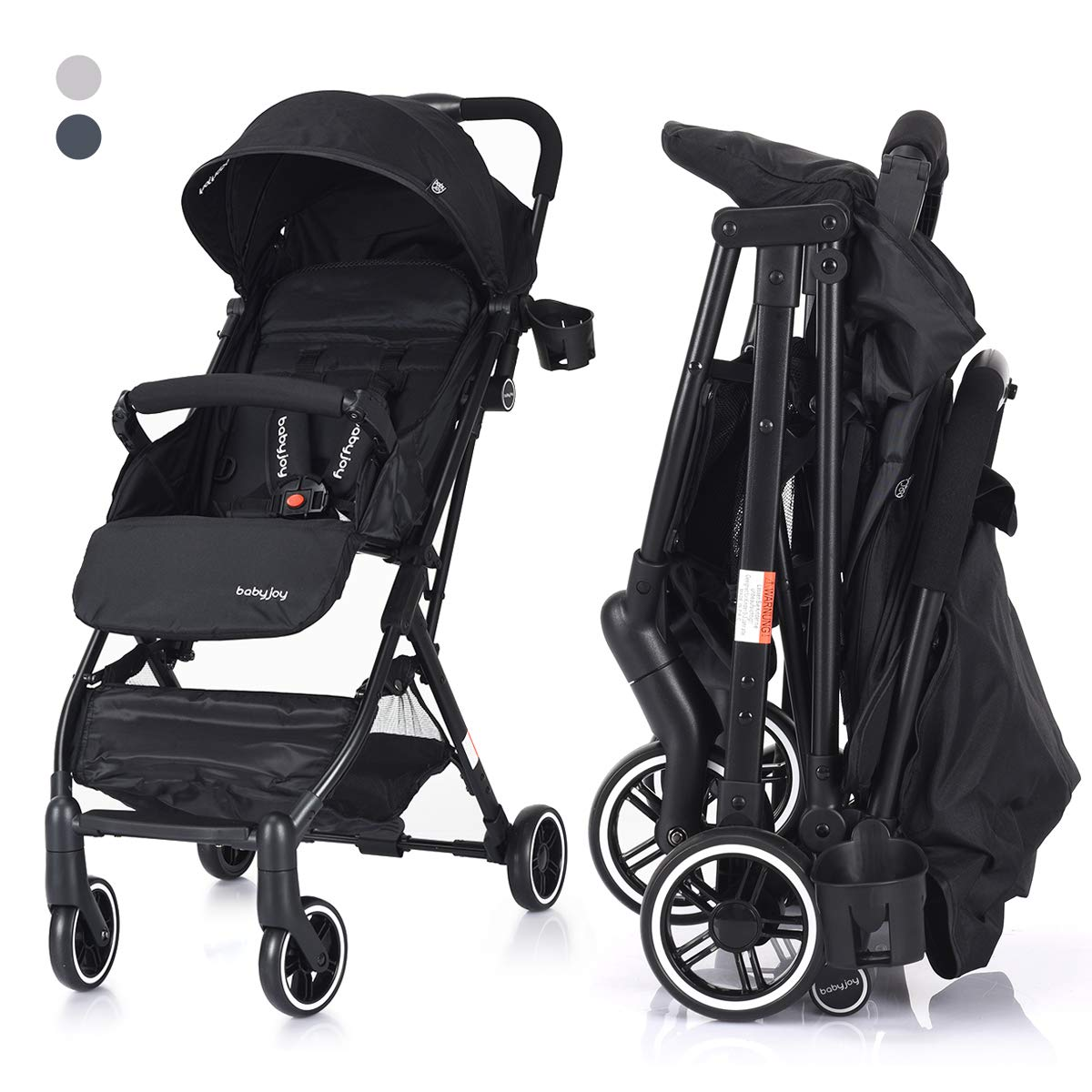 Adjustable Backrest Including Footrest Raincover and Cup Holder 360 Degree Swivel Wheels COSTWAY Kid Pram Folding Baby Stroller with Safe Five-Point Harness and Brake for 0-3 Ages