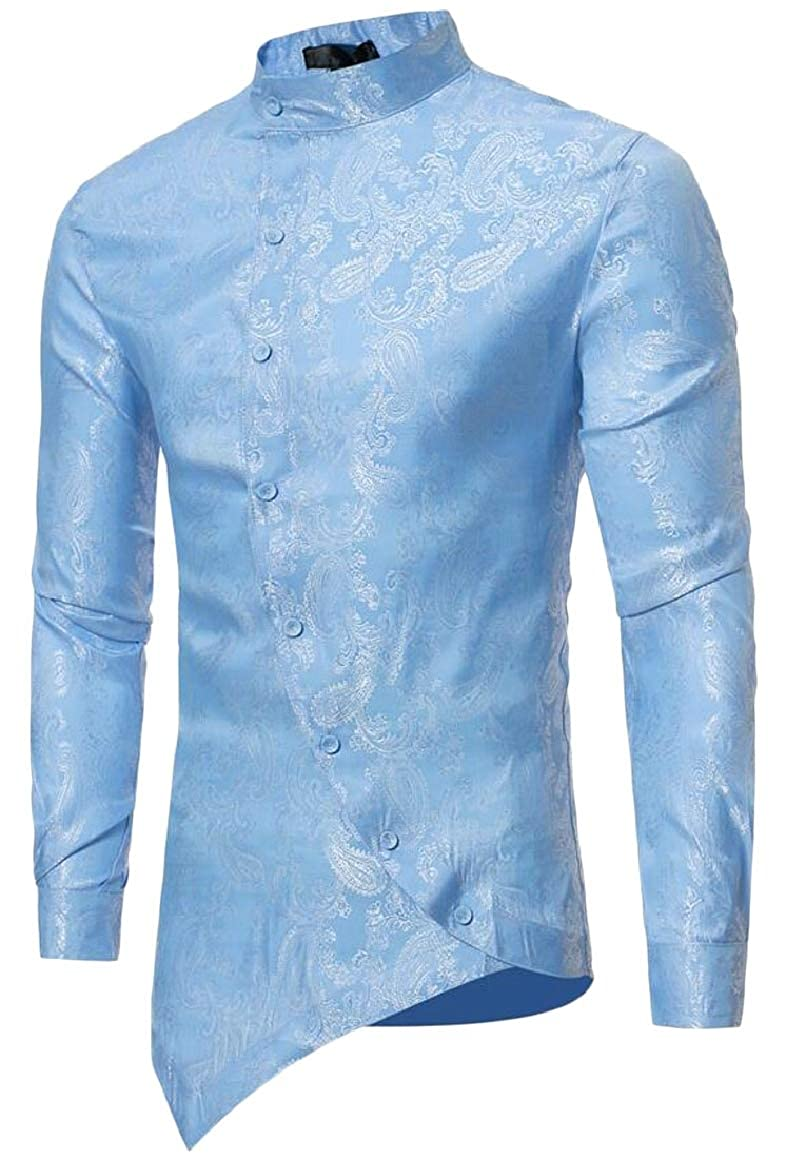 HTOOHTOOH Mens Long Sleeve Irregular Hem Autumn Floral Fitted Shirt Blouse Tops