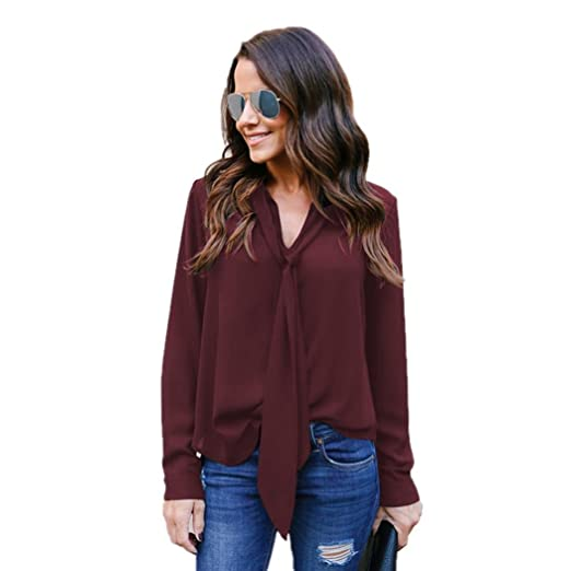 e6ca2378c Kangma Women Solid Long Sleeved V-Neck Casual Tie Chiffon Business Shirt  Top Blouse Red at Amazon Women's Clothing store: