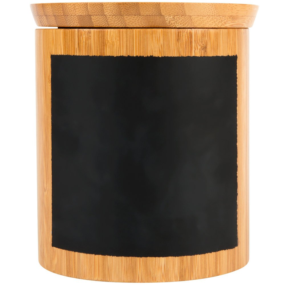 Tablecraft RCBR555 Write-On 5'' x 5'' Bamboo Round Polypropylene Lined Storage Container with Chalkboard Pack of 12 by TableTop King