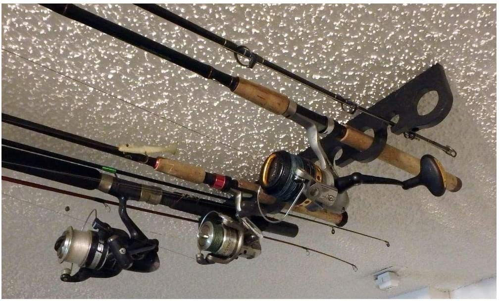 Fishing Organizer Rod Rack Ceiling Mount Pole Reel Garage Storage Tool 9 Holder