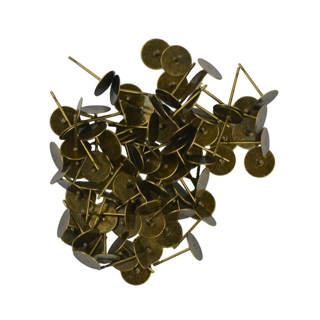 100pcs 8mm Blank Pad Stud Earring Post Peg Pin DIY Making Findings 6 Colors - Gold, 8 mm Generic STK0156014140