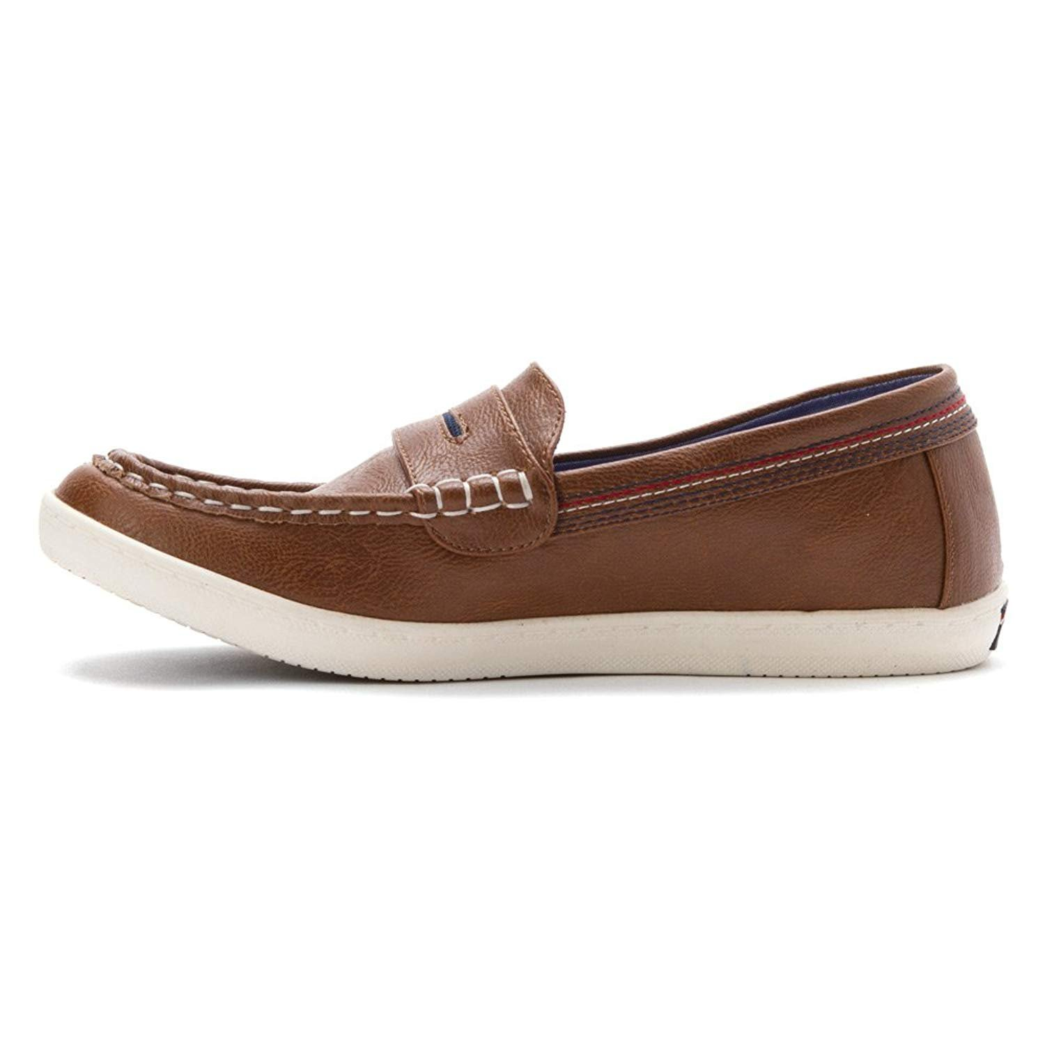 Tommy Hilfiger Womens Dwayne Leather Closed Toe Boat, Cognac/Peacoat, Size 6.0