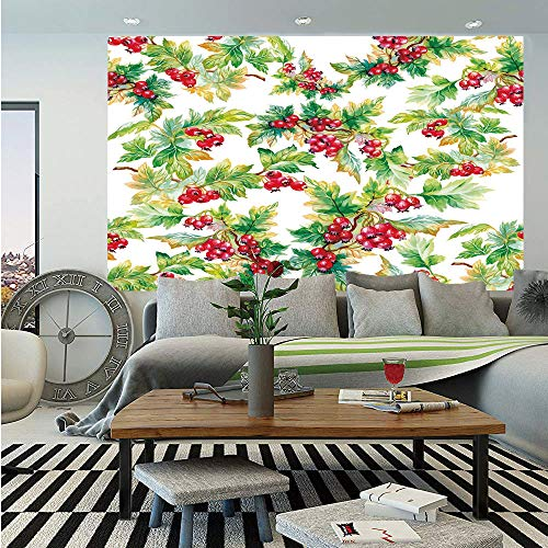 (SoSung Rowan Huge Photo Wall Mural,Watercolor Style Branches with Rowan Berries Winter Christmas Concept,Self-Adhesive Large Wallpaper for Home Decor 108x152 inches,Scarlet Mustard Green)