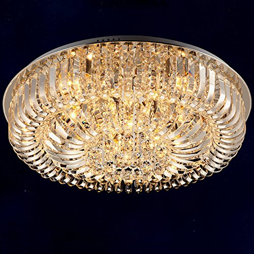 Modern Round Curved Crystal Flushmount Chandelier with Chrome Canopy Lighting Ceiling Light (Small)