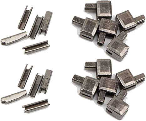 YaHoGa 20 Sets #5 Metal Zipper Latch Slider Retainer Insertion Pin Zipper Bottom Zipper Stopper for Metal Zipper Repair Silver