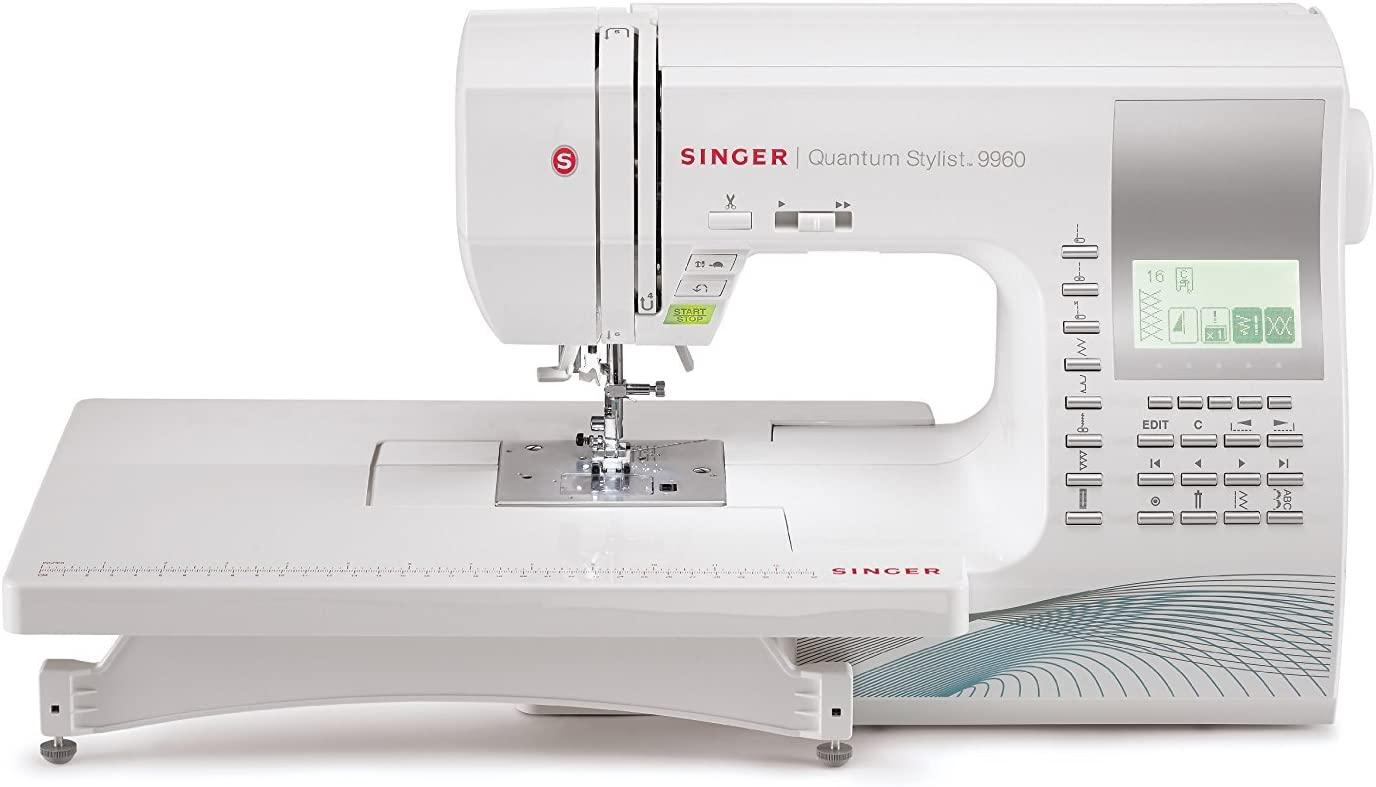 Singer Quantum Stylist 9960 Computerized Portable Sewing Machine with 600-Stitches Electronic Auto Pilot Mode, Extension Table and Bonus Accessories, Perfect for Customizing Projects