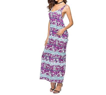 c85349e203 Hanglin Trade Women s Summer Strap Floral Print Boho Casual Swing Midi Dress  Long Dresses Beach Dress