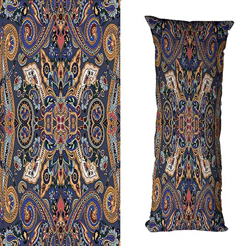Needlepoint Paisley Brown (DuckBaby Customized Pillowcase Paisley Historical Moroccan Florets with Slavic Effects Heritage Design Cushion W16 xL23.5 Royal Blue and Sand Brown)