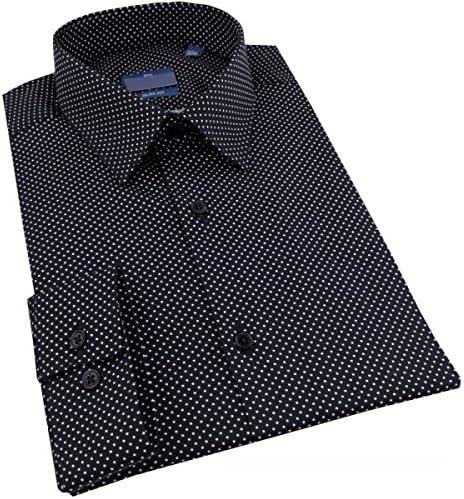 Camisa para Hombre Cintrée Negro de Lunares Blanco – L: Amazon.es: Ropa y accesorios