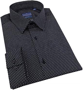 Camisa para hombre Cintrée negro de lunares blanco – S ...