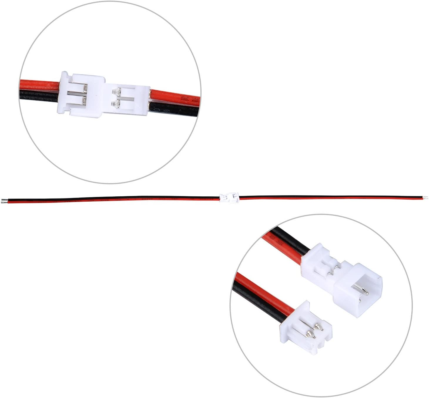 20 Sets JST Plug Connector 2 Pin Male Female Plug Connector Cable Wire