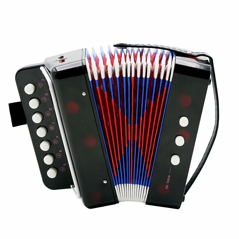 Andoer Kids Children 7-Key 2 Bass Mini Small Accordion Educational Musical Instrument Rhythm Band Toy (Black)
