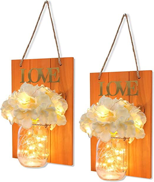HABOM Mason Jar Sconce Hanging Wall Art for Indoor /& Outdoor Farmhouse Garden Yard Home Decor Rustic Wall Decor with Fairy Lights Battery Operated Night Lights Set of 2