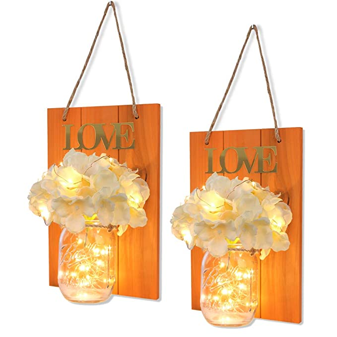 Mason Jars Sconce, Hydrangea Flowers LED Fairy Lights - burnt orange wall art