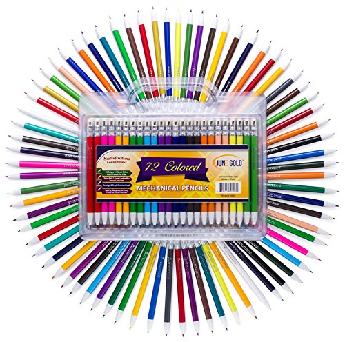 June Gold 72 Colored Mechanical Pencils, 2.0 mm Lead, Extra Bold & 90 mm Tall, 36 Unique Colors, Built in Sharpeners, Convenient Folding Carrying Case (Colored Leads)