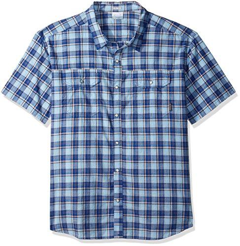 Columbia Men's Leadville Ridge Yarn Dye Short Sleeve Shirt, Air Small Plaid, XX-Large
