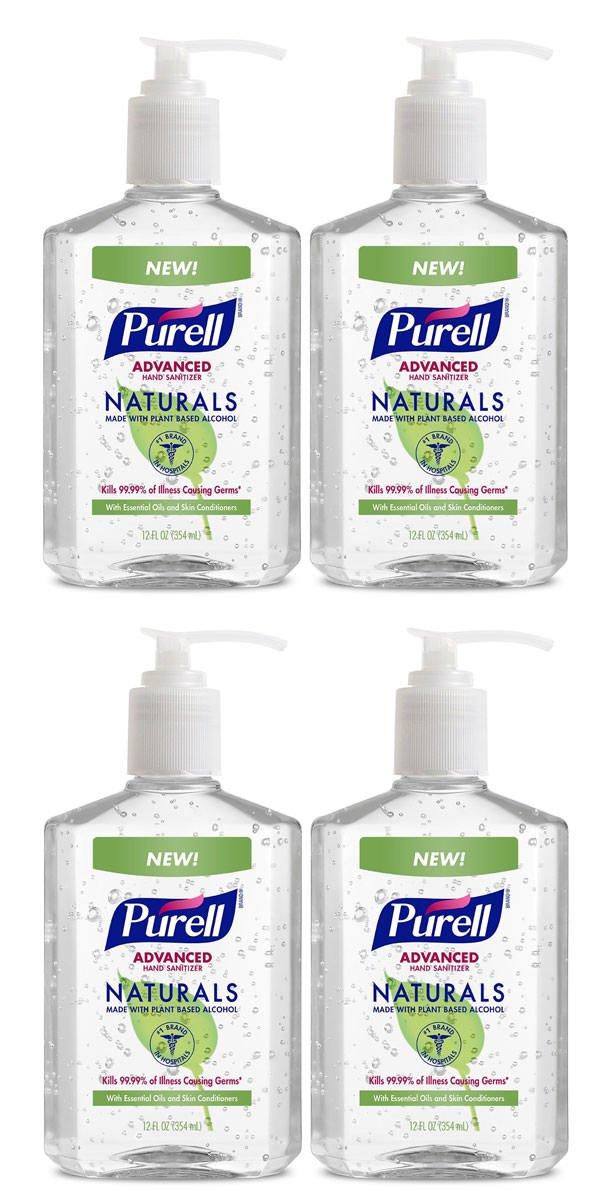 GZISTPWHCE Naturals Advanced Hand Sanitizer - Hand Sanitizer Gel with Essential Oils, 12 fl oz Pump Bottle - 9629-06-EC(Pack of 4)