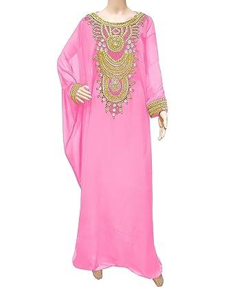bc51a73bef Amazon.com  African Boutique Elegent Party Wear Dress Kaftan Jalabiya  Crystal Stone Work Golden Beaded Dubai Kaftan  Clothing