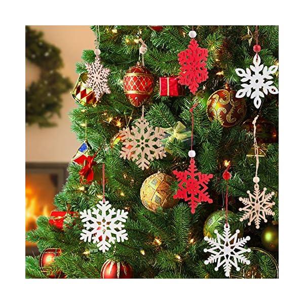 MELLIEX 18 Pezzi di Natale in Legno con Fiocchi di Neve Ornamenti, 3 Colori Albero di Natale Appeso Decorazioni Ciondolo, Natale Artigianato in Legno Abbellimento con Spago 4 spesavip