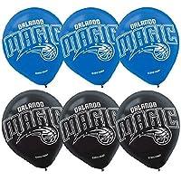 "Amscan Orlando Magic Printed Latex NBA Basketball Team Party Balloons, 12"", Blue/Black"