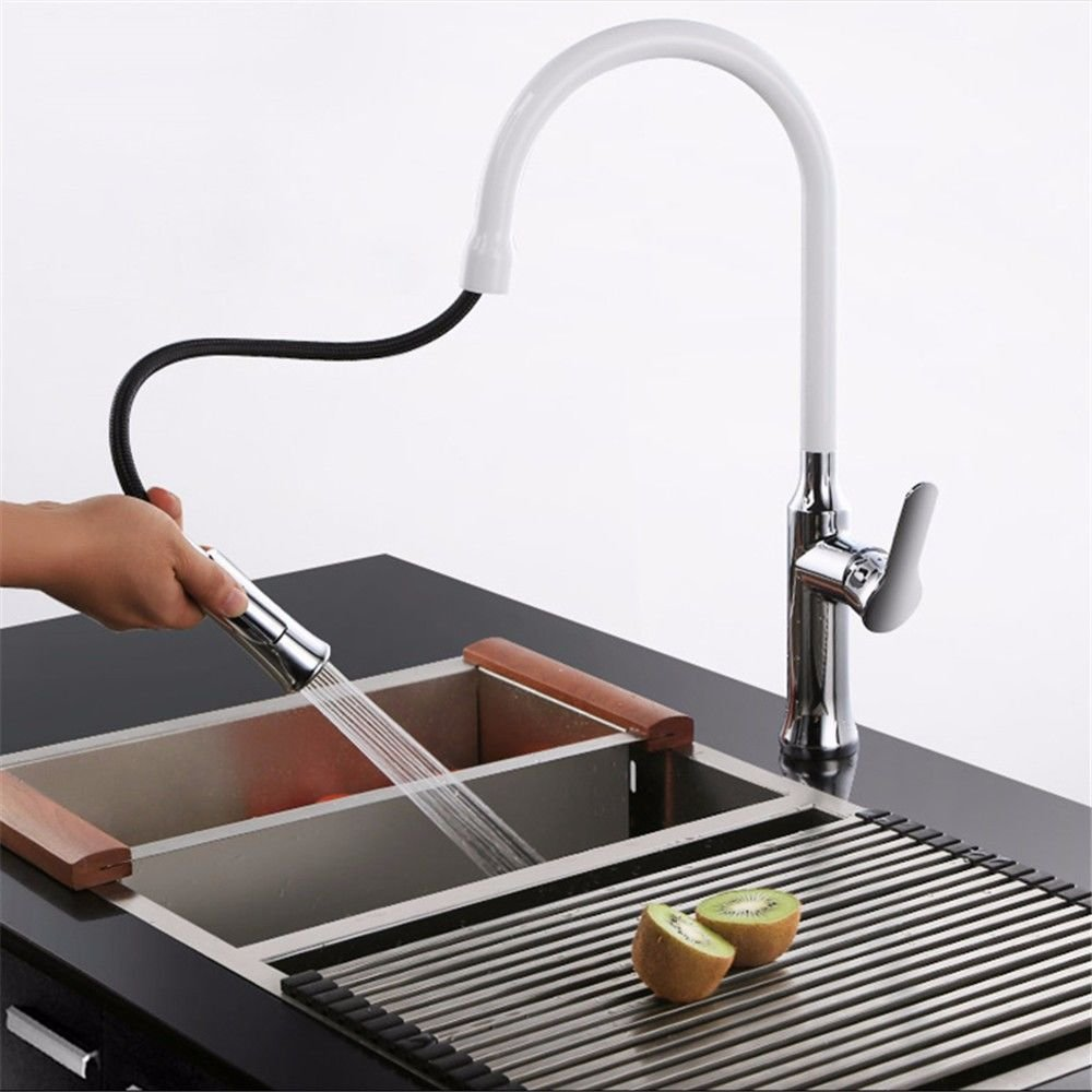 Hlluya Wasserhahn für Waschbecken Küche Das Kupfer heiße und kalte Gerichte zeichnen-Waschtisch Armatur einziehbaren schwenken Mischbatterie KÜCHENARMATUR
