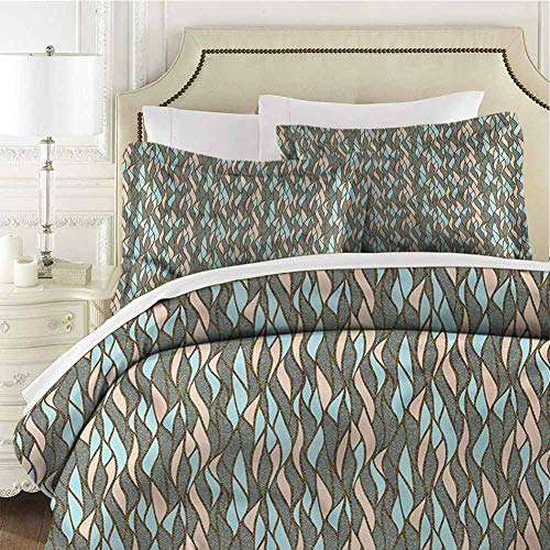 Abstract Bedding Set Pastel Vertical Wave King (104x90 inches) - 3 Pieces (1 Duvet Cover + 2 Pillow Shams) - Ultra Soft and Breathable Comforter Cover
