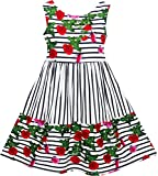 Sunny Fashion JJ95 Girls Dress Striped Red Rose Bow Tie Princess Party School Size 8