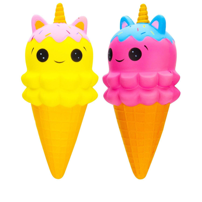 GYUEE Squishies Slow Rising Kids Toys Doll Stress Relief Toy Hop Props, Kawaii Cute Unicorn Ice Cream (Unicorn Ice Cream Cone)