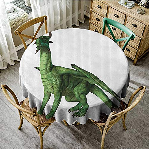 """familytaste Round tablecloths Kids Decor,Ugly but Cute Dragon Standing and Looking Miniature Dino Like Image Print,Green and White D 60"""" tablecovers for Sale"""
