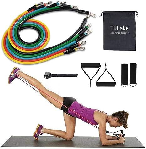 13 Piece Fitness Resistance Band Tubes Set for Yoga Pilates Home Gym Workout UK