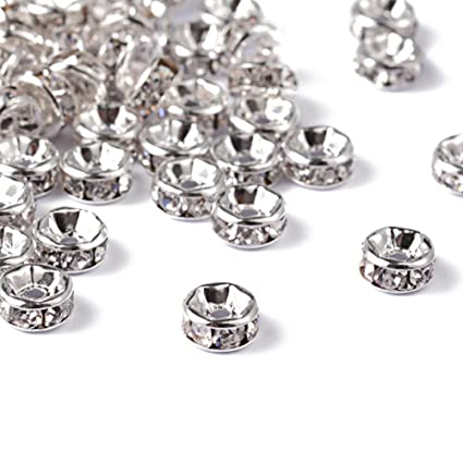 50pcs Silver Tone Brass Rondelle Metal Beads Smooth Large Hole Loose Spacer 10mm