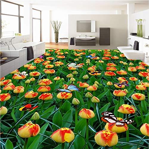 - Papel De Parede para Quarto Customize Any Size Fresco Tulip Flower Sea Flowers 3D Floor Tiles Wallpaper for Walls 3 D-L150Xw105Cm