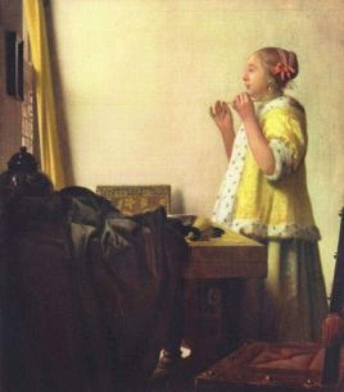 Vermeer mujer con collar de perlas - pintura al óleo digital sin marco por números lienzo arte mural, diy decoración de la casa decoraciones regalos