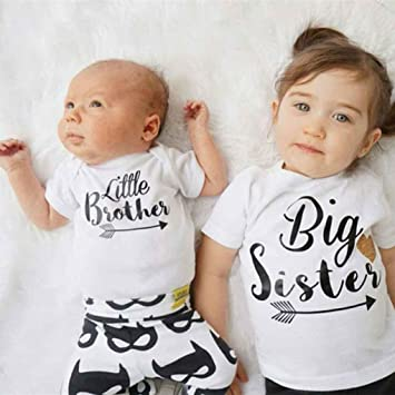 d09cf55b71a5 Masterein Little Sister Big Brother Family Matching Outfits Little Sister  Romper Big Brother Printed Tops Cotton