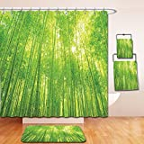 Nalahome Bath Suit: Showercurtain Bathrug Bathtowel Handtowel Bamboo Decor Image of Bamboo Trees with Sunlight in Rainforest Exotic Wildlife Plants Nature Zen Decor Green