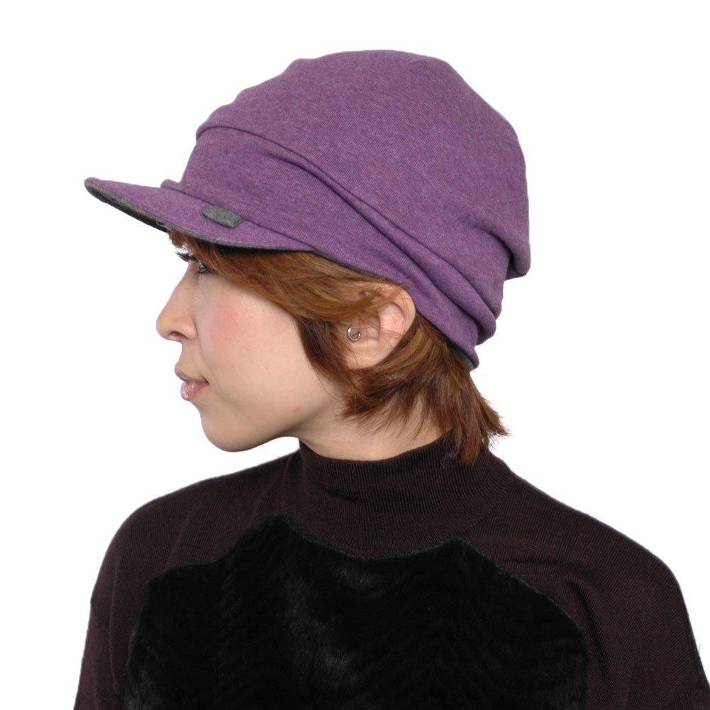 CHARM Organic Cotton Mens Beanie Cap - Womens Slouchy Peak Hat Sensitive Skin Chemo Wear Handmade Purple & Dark Gray