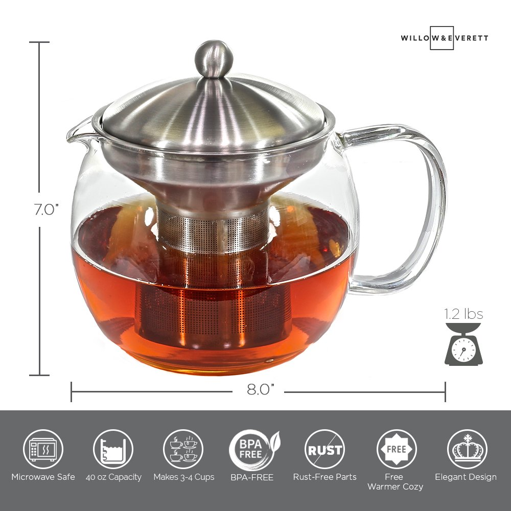 Teapot Kettle with Warmer - Tea Pot and Tea Infuser Set - Glass Tea Maker Infusers Holds 3-4 Cups Loose Leaf Iced Blooming or Flowering Tea Filter- Teapots Kettles Tea Strainer Steeper Tea Pots by Willow & Everett (Image #6)