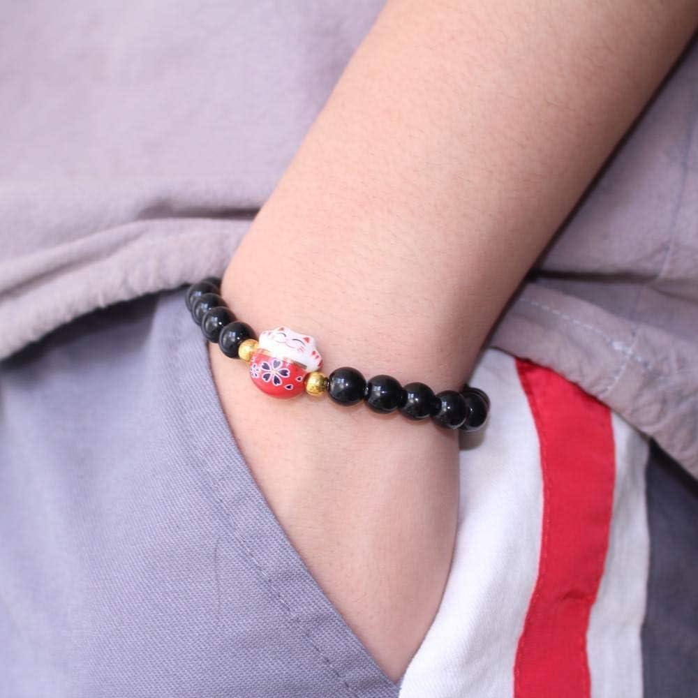Porte Bonheur Perles Naturelles Noires 招き猫 Bracelet Japonais Maneki Neko 18 cm r/églable