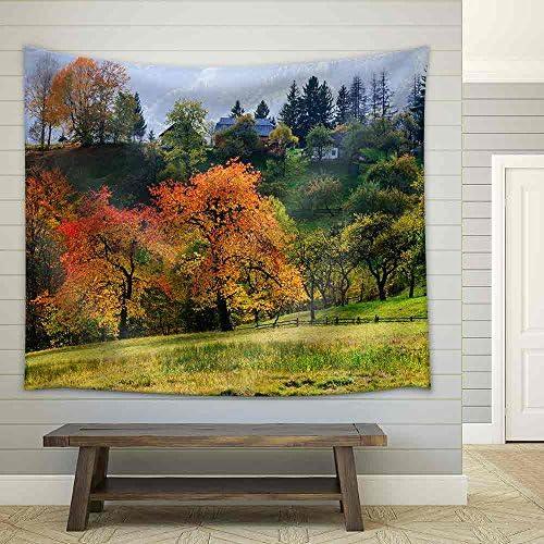 Autumn Cherry Tree in a Mountain Village Solar Landscape Carpathians Ukraine Europe Fabric Wall