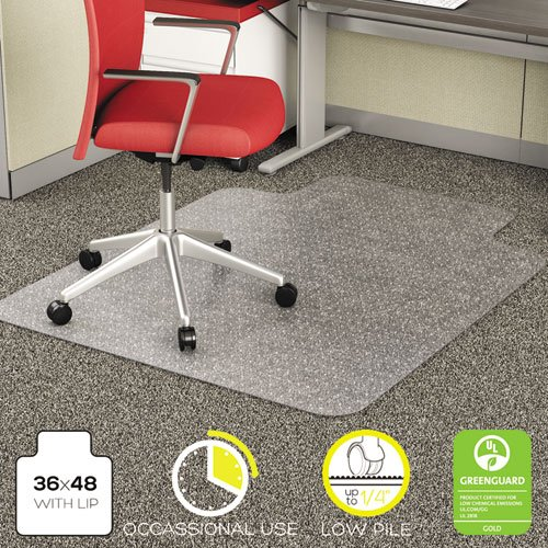 EconoMat Occassional Use Chair Mat for Low Pile, 36 x 48 w/Lip, Clear, Sold as 1 Each